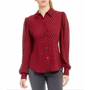 Vince Camuto Statement Geo Mutton Sleeve Blouse
